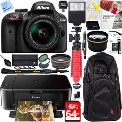 D3400 24.2 MP DSLR Camera w/ 18-55mm VR Lens + Canon PIXMA Printer Bundle
