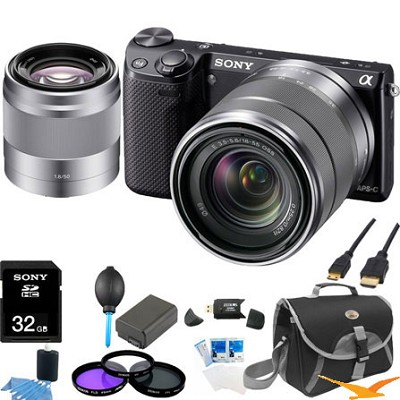 NEX-5RK/B Compact Digital Camera with 18-55 + SEL 50mm f1.8 Lens