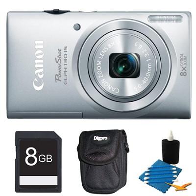 PowerShot ELPH 130 IS Silver 16MP Digital Camera 8GB Bundle