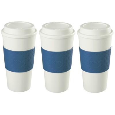 16-Ounce Capacity Acadia Reusable To Go Mug - Blue (2510-9966) 3 Pack Bundle