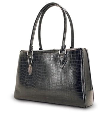 MEMC1L Milano handbag large faux-croc black computer case for Laptops up to 17`