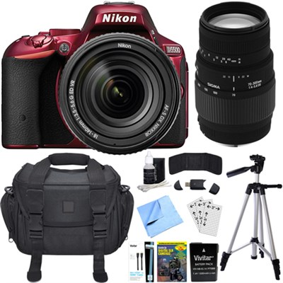 D5500 Red DX-format DSLR Camera w/ AF-S NIKKOR 18-140mm ED VR Lens Bundle