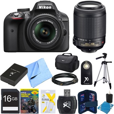 D3300 24.2 MP Digital SLR Black w/ 18-55mm and 55-200mm Lens REFURBISHED Bundle