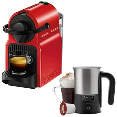Inissia Espresso Maker Red C40-US-RE-NE w/ Aroma Stainless Steel Milk Frother