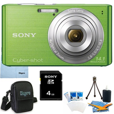 Cyber-shot DSC-W610 Green 4GB Digital Camera Bundle
