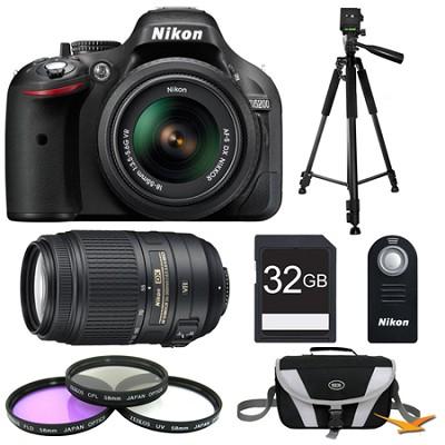 D5200 Black 32 GB SLR Camera with 18-55mm & 55-300mm VR Lens and Filters Bundle