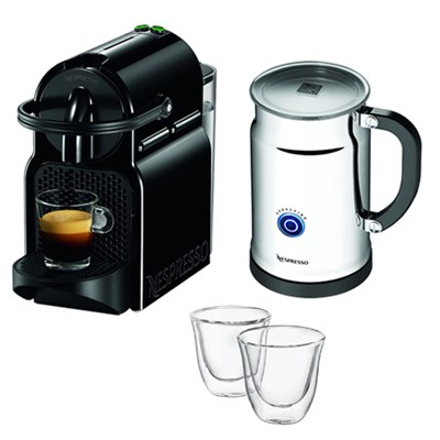 Inissia Espresso Maker with Aeroccino Plus Milk Frother Bundle w/ 2 Glasses
