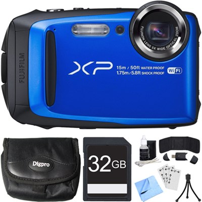FinePix XP90 16 MP Waterproof Digital Camera Blue 32GB SDHC Card Bundle