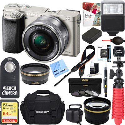 Alpha a6000 Slver Interchangeable Lens Camera 16-50mm Power Lens + 64GB Kit