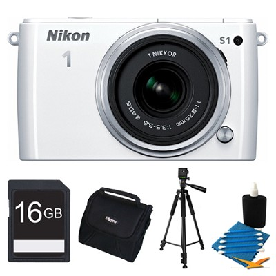 1 S1 10.1MP White Digital Camera with 11-27.5mm Lens 16GB Bundle