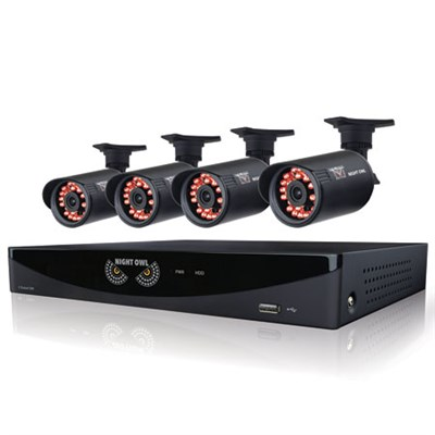 4 Channel Video Security System, Bullet Cameras, 500GB - Certified Refurbished
