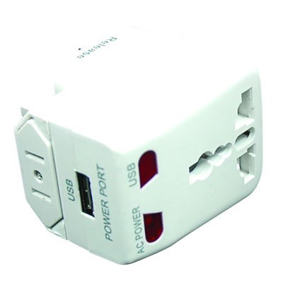 World Travel Adapter with Built-in USB Charger in White - ACP-WTA