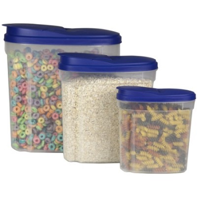 3 Piece Storage Container Set with Blue Lids - 1.3/2.7/5-Liter
