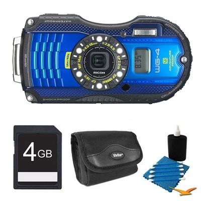 WG-4 GPS 16MP HD 1080p Waterproof Digital Camera Blue 4GB Kit