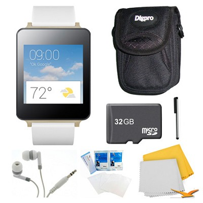 Android Wear White Smart G Watch, 32GB Card, and Case Bundle