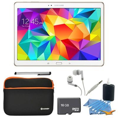 Galaxy Tab S 10.5` Tablet - (16GB, WiFi, Dazzling White) 16GB Accessory Bundle