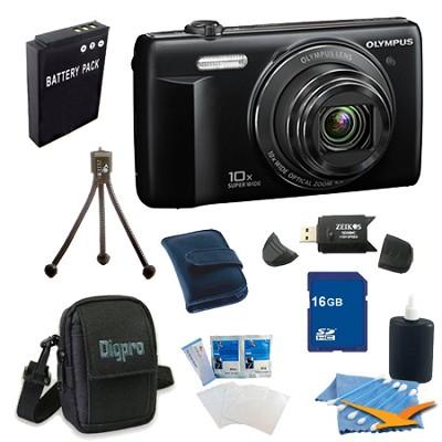 16 GB Kit VR-340 16MP 10x Opt Zoom 3-inch LCD Digital Camera - Black