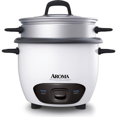 ARC-743-1NG White Pot Style 6-Cup Cooked Rice Cooker and Food Steamer