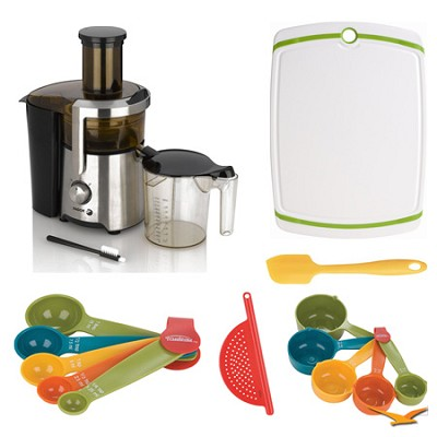 Enerjuicer 800-Watt Dual Speed Juice Extractor, Board, and Measuring Sets Bundle