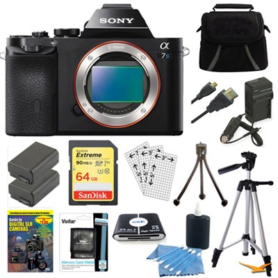 ILCE-7S/B a7S Full Frame Camera w/ 64GB SDXC Cards & 2 Batteries Bundle