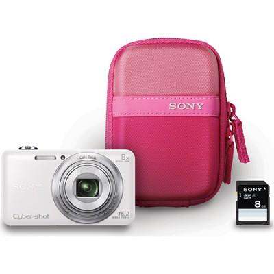 DSC-WX80 16 MP 2.7-Inch LCD Digital Camera - White Bundle - OPEN BOX