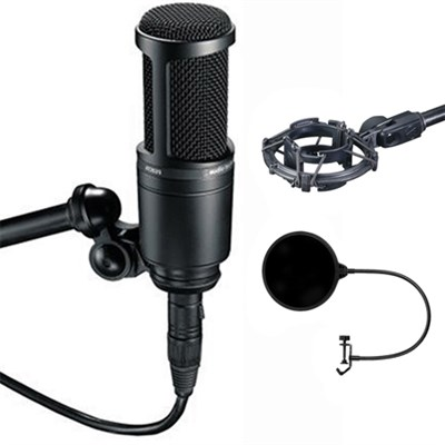 Side Address Cardioid Condenser Studio Microphone - AT2020 w/ Shock Mount Bundle