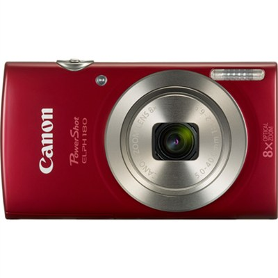 PowerShot ELPH 180 20MP 8x Optical Zoom HD Video Red Digital Camera