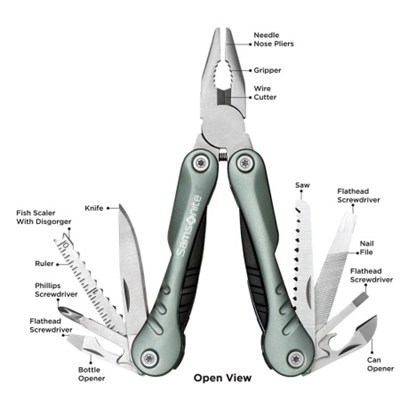 Premium Travel Deluxe 12-in-1 Stainless Steel Multi Tool in Silver