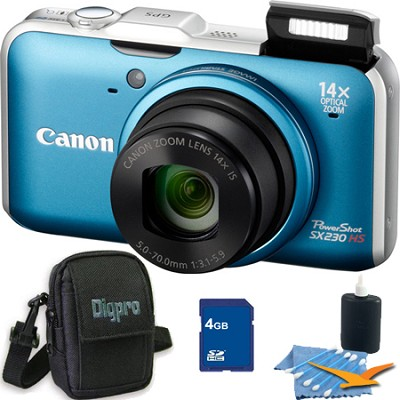 PowerShot SX230 HS Blue Digital Camera 4GB Bundle
