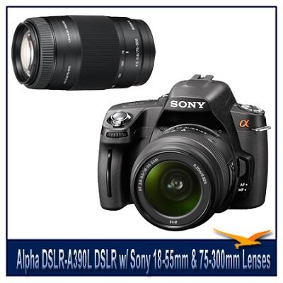 Alpha DSLR-A390L 14.2 MP DSLR Kit w/ Sony 18-55mm Lens & 75-300mm f/4.5-5.6 Lens