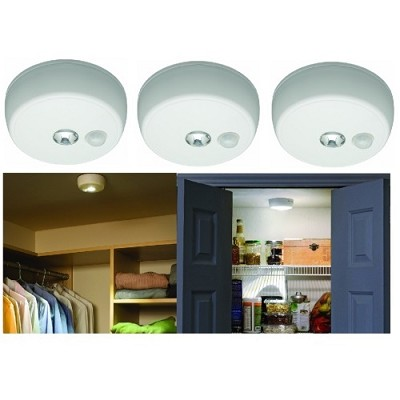 MB 980 Battery-Operated Indoor/Outdoor Motion-Sensing LED Ceiling Light 3-Pack