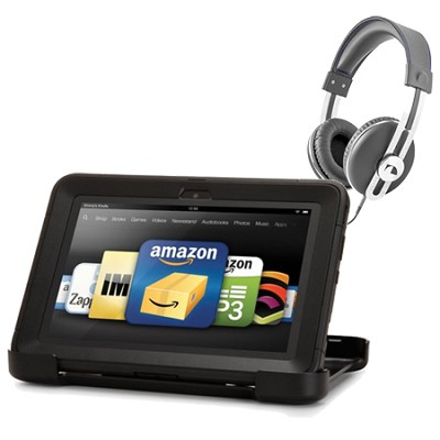 Amazon Kindle Fire HD 8.9 Black Defender Case Retro Headphone Bundle