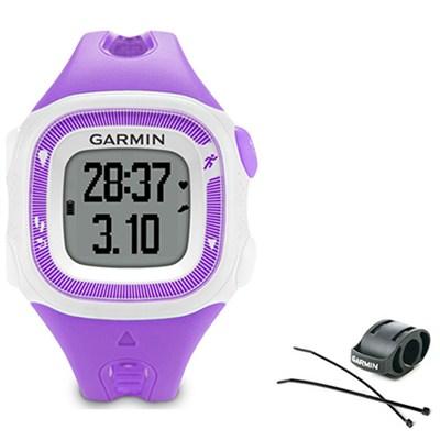 Forerunner 15 Heart Rate Monitor Bundle Small - Violet/White + Bike Mount Kit