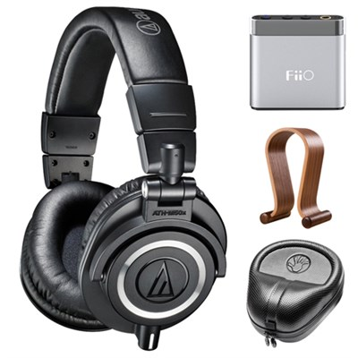 Professional Studio Headphones (Black) w/ Amplifier Bundle