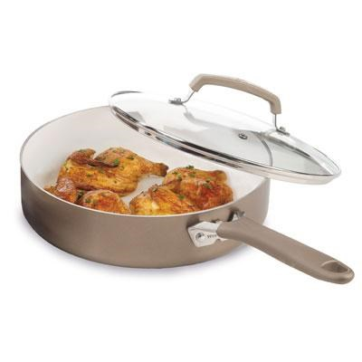 Pure Living 3.5-Quart Jumbo Cooker Covered Skillet in Champagne - C9443364