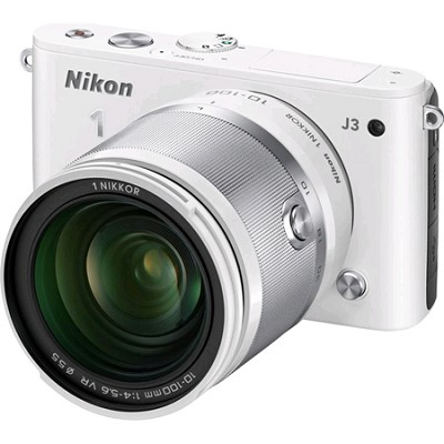 1 J3 14.2MP White Digital Camera with 10-100mm VR Lens