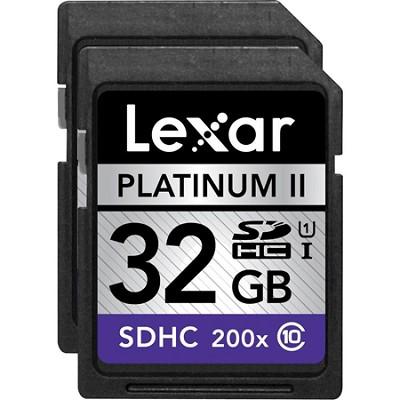 32 GB Platinum II SD/SDHC UHS-I  (200x) (Large Blister) 2-Pack - LSD32GBSBNA2002