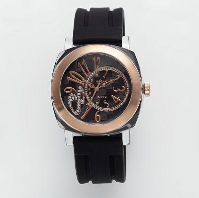 `Crystal 8` Analog Round Watch Black/Chrome - 40811