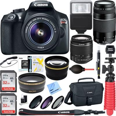 EOS Rebel T6 Digital SLR Camera w/ EF-S 18-55mm IS + EF-S 75-300mm Lens Bundle
