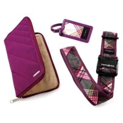 Travel Wallet and ID Kit - Purple Plaid