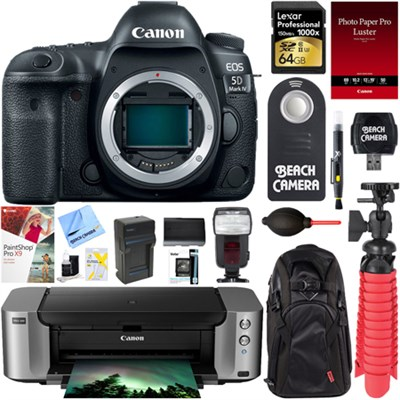EOS 5D Mark IV 30.4 MP DSLR Camera (Body) + Canon PIXMA PRO-100 Printer Bundle