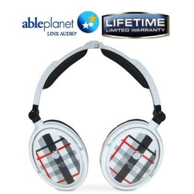 Extreme Noise Cancelling Foldable Headphones (White) - OPEN BOX
