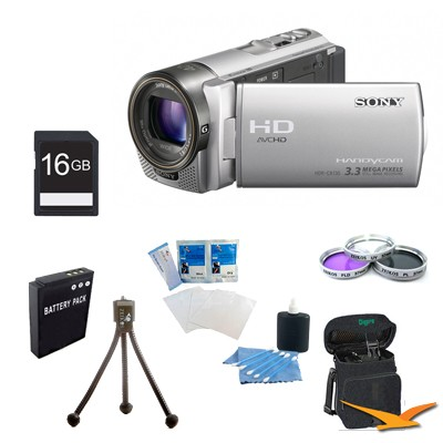 HDR-CX130 Handycam Full HD Silver Camcorder w/ 30x Optical Zoom Ultimate Kit