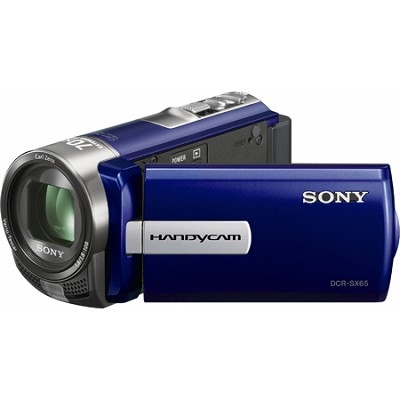 DCR-SX65 Handycam Compact Blue 4GB Camcorder w/ 60x Optical Zoom- OPEN BOX