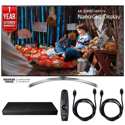 SUPER UHD 55` 4K HDR Smart LED TV w/ Blu-ray Player + Extented Warranty Bundle