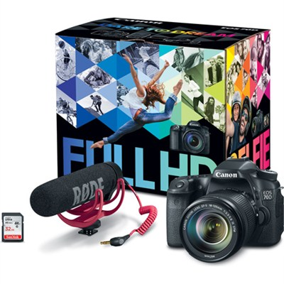 EOS 70D Video Creator Kit with Lens, Rode VideoMic, and Sandisk 32GB SD Card