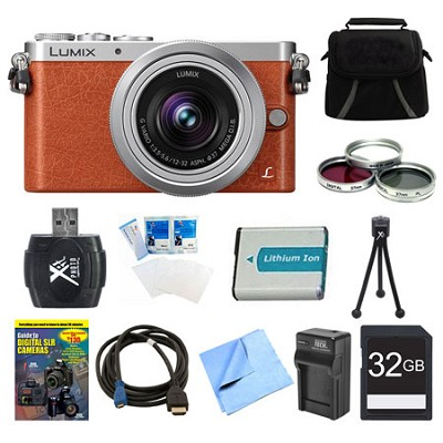 LUMIX DMC-GM1 DSLM Orange Camera with 12-32mm Lens 32GB Bundle