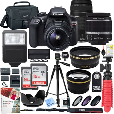 EOS Rebel T6 DSLR Camera w/ 18-55mm IS II + 75-300mm III Double Zoom Deluxe Kit