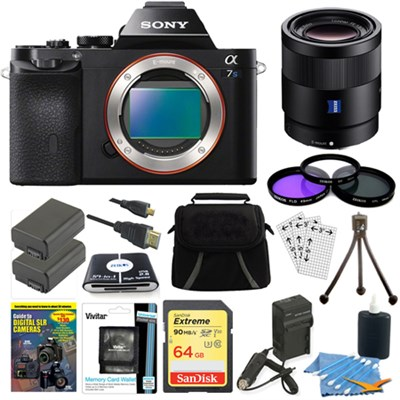 ILCE-7S/B a7S Full Frame Camera, 55mm Lens, 64GB SDHC Card, 2 Batteries Bundle