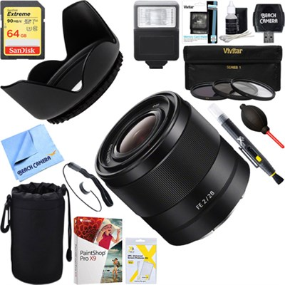 FE 28mm F2 E-mount Full Frame Prime Lens + 64GB Ultimate Kit